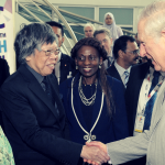 Tan Sri Dato' Sri Paduka Dr Lim Kok Wing (Founder and President of Limkokwing University of Creative Technology) with His Royal Highness Prince Charles Philip Arthur George, Prince of Wales at the 2017 Commonwealth Youth Summit hosted at Limkokwing University