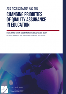 Title page of downloadable speech: ASIC Accreditation and the Changing Priorities of Quality Assurance in Education