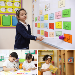 Photos showing children learning in Medad's quality learning environment