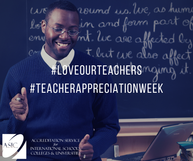 Love our teachers this Teacher Appreciation Week. Hashtags displayed over top of smiling teacher.