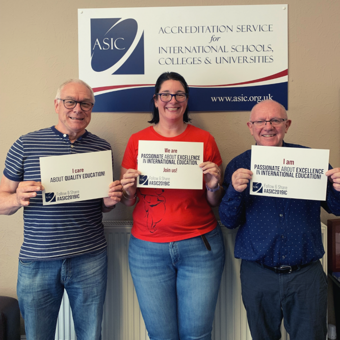 ASIC staff hold up social sharing statements: I care about quality education. We are passionate about excellence in international education - join us!