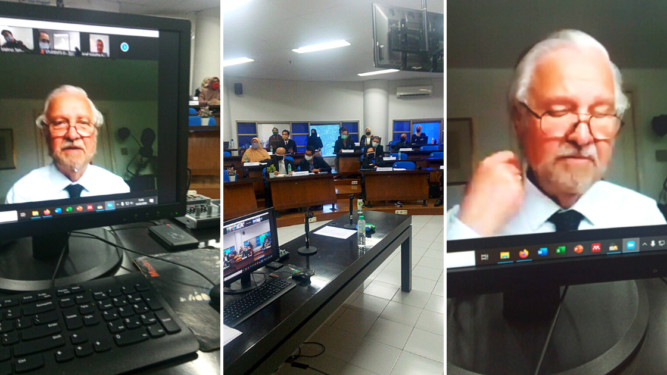 Screenshots of ASIC Inspector, Dr Lawrence Watson, conducting video meetings with an Indonesian University.